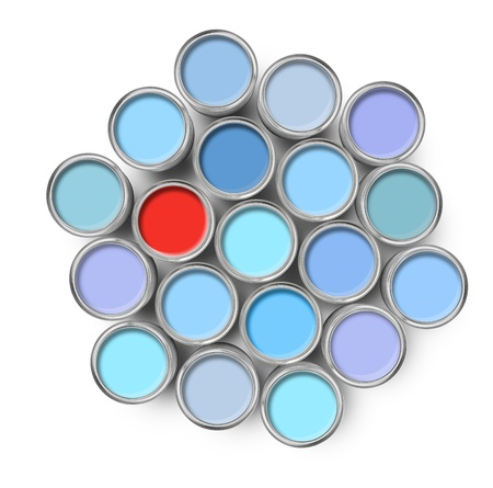 mismatch: Different color among opened paint tin cans isolated on white Stock Photo