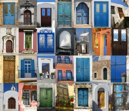 Golorful Greek doors collection compilation