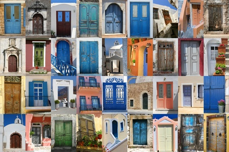 front entry: Golorful Greek doors collection compilation