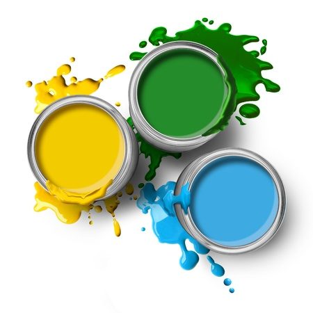 Green blue yellow color paint cans with splashes on white background Stock Photo