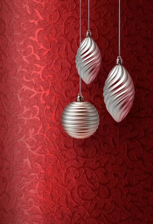 Silver Christmas decoration on vivid red brocade fabric pattern background Stock Photo - 10227184