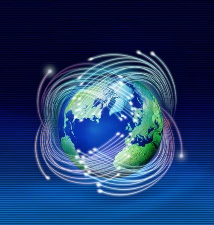 Optical fibres speeding around planet Earth, dark blue background photo