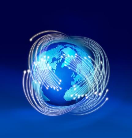 fibre optic: Optical fibres speeding around planet Earth, dark blue background
