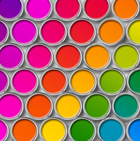 paint tin: Paint tin can color palette, cans opened top view  on white