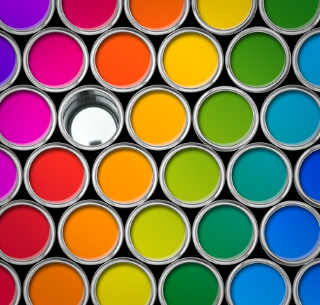 vibrant colours: Paint tin color palette, cans opened top view, one can empty