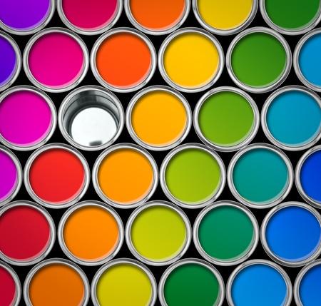 Verf tin kleurenpalet, blikjes geopende boven bekijken, een kunt leegmaken