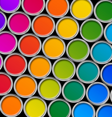 black dye: Paint tin color palette, cans opened top view  black background Stock Photo