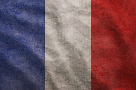 french flag: Weathered France flag grunge rugged condition waving