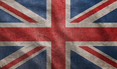 united  kingdom: Weathered Union Jack UK flag grunge rugged condition waving