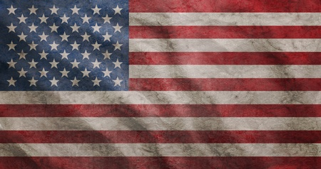Weathered USA flag grunge rugged condition waving Stock Photo - 10440843