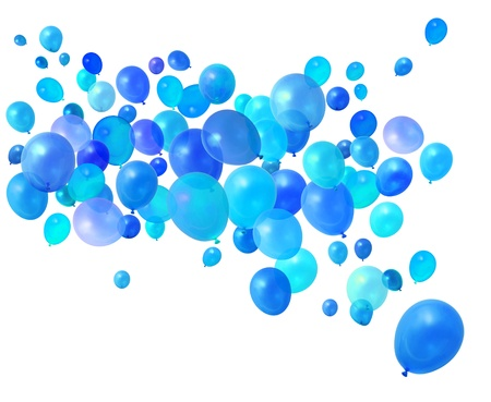 Blue birthday party balloons flying on white background