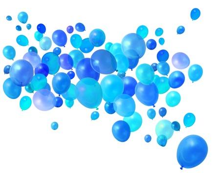 ballons: Bleu ballons f�te d'anniversaire de vol sur fond blanc