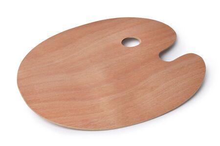 artist palette: Empty wooden artist palette isolated on white