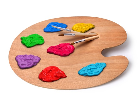 paint palette: Wooden artist palette with brushes and colors isolated on white