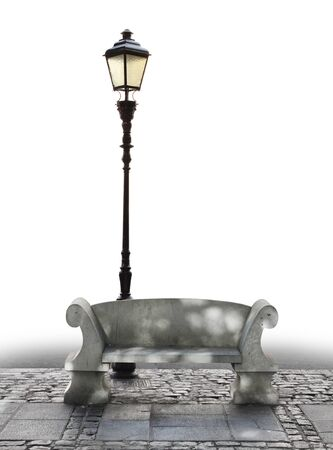 lampposts: Marble bench seat and streetlight on stone paving, partly isolated