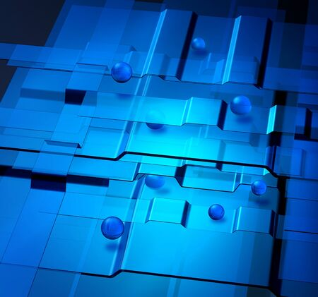 layers levels: Transparent blue levels and spheres nanotechnology concept