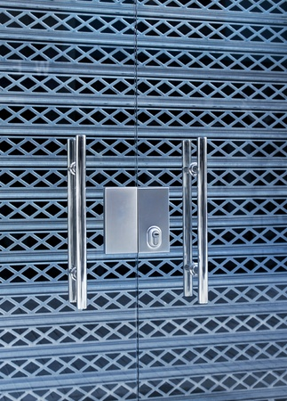 Security glass doors locked, aluminum shutter grill protection