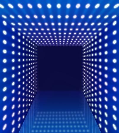Blue spotlight perspective hallway corridor background photo