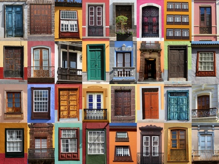 urban culture: Colorful living - European doors and windows of Mediterranean Stock Photo