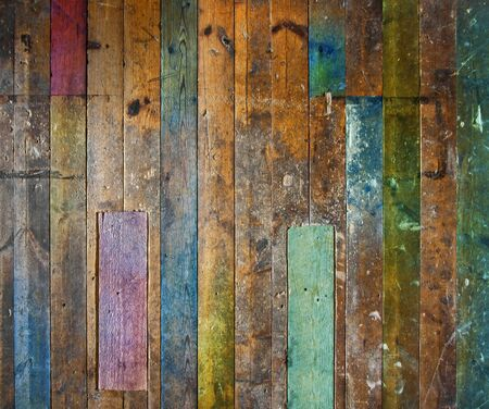 colorful old aged wooden plank floor or wall structure Stock Photo - 11263017