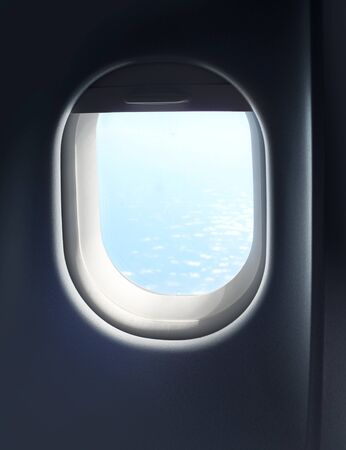 Jet plane interior cabin window sky view photo