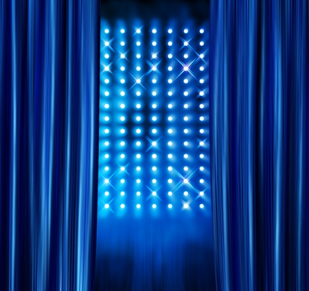 black satin: Blue satin curtains reveal stage spotlight lamps wall