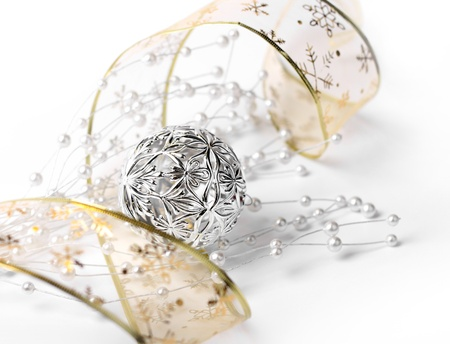 White silver gold Christmas decoration, shallow DOF photo