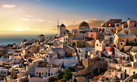 santorini: Beautiful evening dusk in Oia village Santorini island Greece