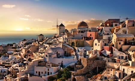 Beautiful evening dusk in Oia village Santorini island Greece