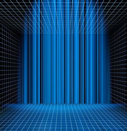 그리드: 추상 파란색 격자 관점 공간 배경