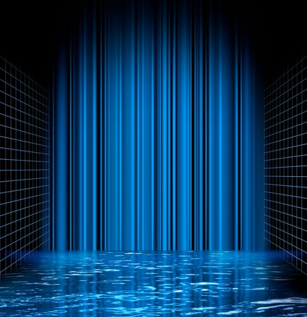 Abstract blue water surface grid perspective space background photo