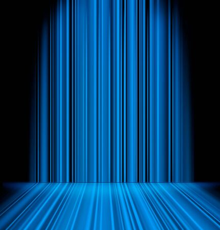 Abstract blue light rays striped wall background photo