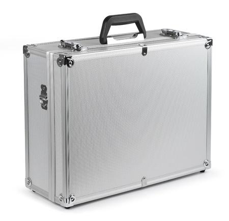 Aluminum safety metal briefcase isolated on white background Standard-Bild
