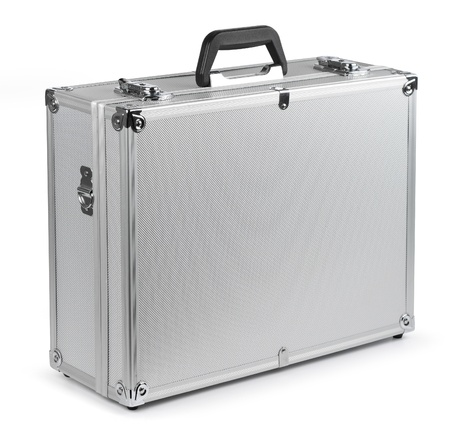 business briefcase: Aluminum safety metal briefcase isolated on white background Stock Photo