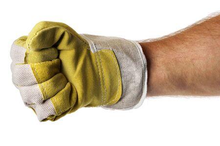 puños cerrados: Fuerte mano masculina trabajadora cierre del puño del guante