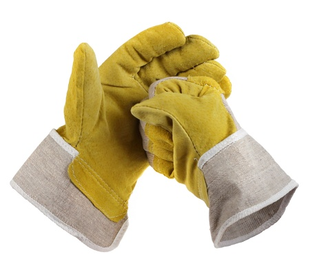 work glove: Work gloves hit together positive start spirit gesture Come on let