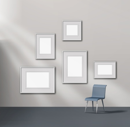 Picture gallery exhibition space empty frames collection Stock Photo - 11960579