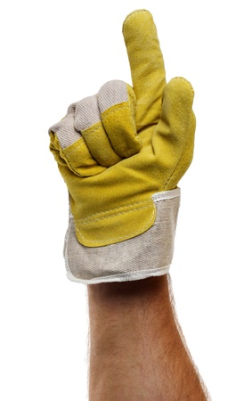 Strong worker hand glove finger pointing up photo