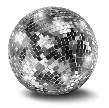 Silver disco mirror ball isolated on white background photo
