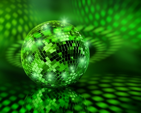 Green disco mirror ball globe sending light reflections