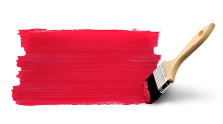 Paint brush painting red vertical strokes on white background photo