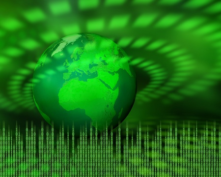 pulses: Green planet emitting digital data pulses, information technology concept