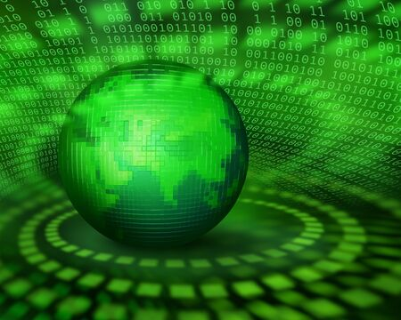 pulses: Green pixel planet emitting digital data pulses, information technology concept Stock Photo