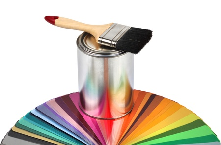 Paint brush, tin can and color guide samples isolated on white Standard-Bild