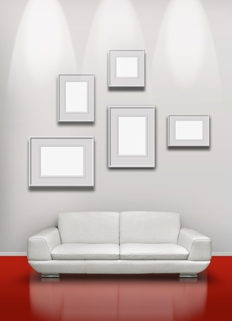 Picture gallery exhibition space red floor white sofa photo