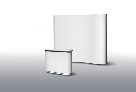 trade show: Blank exhibition fair stand desk and wall, apply your own design Stock Photo