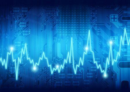 puls: Cyfrowy układ graficzny komputer płyta puls serca Zdjęcie Seryjne