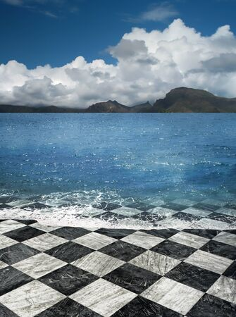Checkered marble tile sea shore beach illusion fantasy