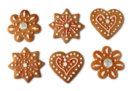 christmas gingerbread: Traditional home made Christmas cookie ginger breads Stock Photo