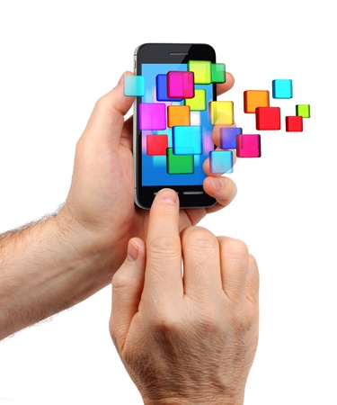 Male hands holding modern touchscreen smartphone, colorful icons burst